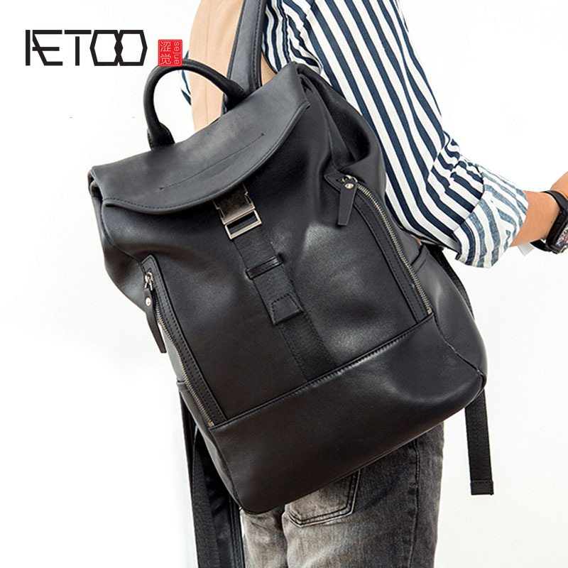 AETOO Leather backpack personalized fashion men's sports bag top layer leather men's backpack tide bag