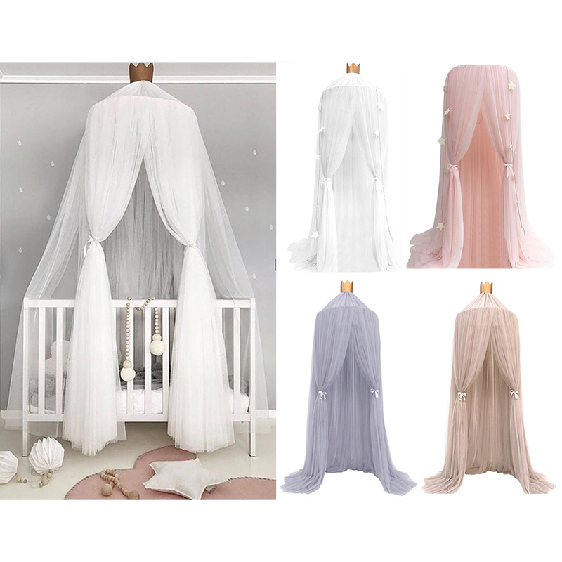 6 Colors Hanging Kids Baby Bedding Dome Bed  Cotton Mosquito Net Bedcover Curtain For Baby Kids Reading Playing Home Decor
