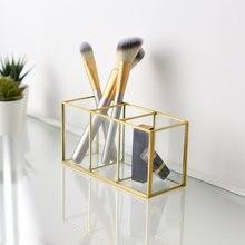 Скандинавская коробка для хранения косметических кистей из золотистого
