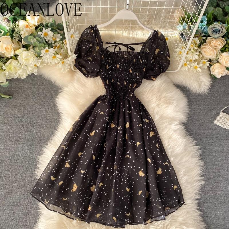 Черное платье для вечеринки с принтом «океаника», женские платья средней длины трапециевидной формы с высокой талией, 2020, пышные рукава, ...