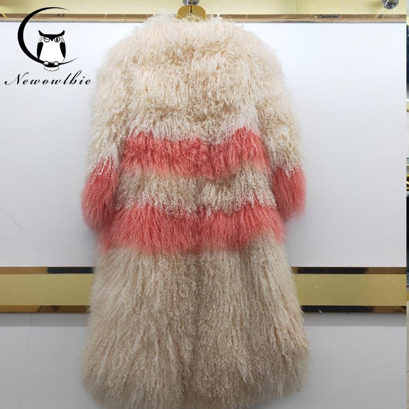 Women real mongolian sheep fur coat hooded beach wool medium long fur coat sheepskin overcoat winter fur outerwear female jacket