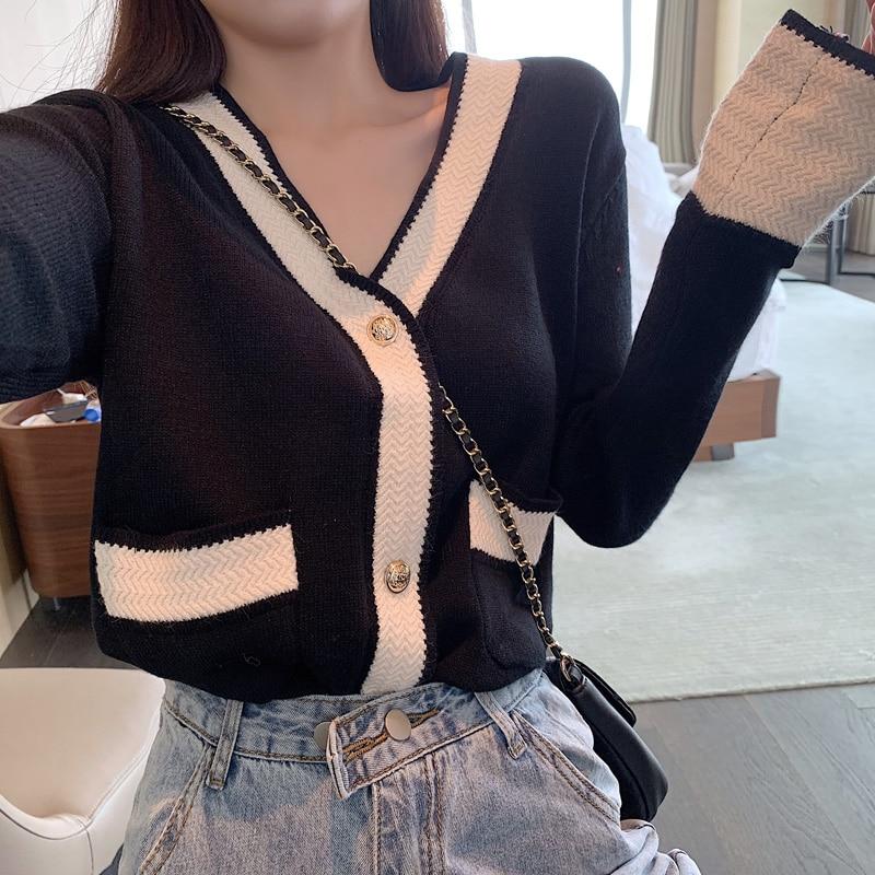 COIGARSAM New Autumn Shirt Womens Tops Full Sleeve Loose Knitting V-Neck Open Color Sweater Women Shirts White Black 7110