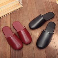 Sheepskin Couple's Autumn/Spring Home Slippers Japan Style Genuine Leather Anti Slip Indoor Slippers for Men and Women