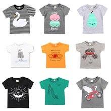 Camiseta de verano para niños, ropa de algodón con estampado, camisetas de manga corta, camiseta blanca para niños de 1 a 7 años