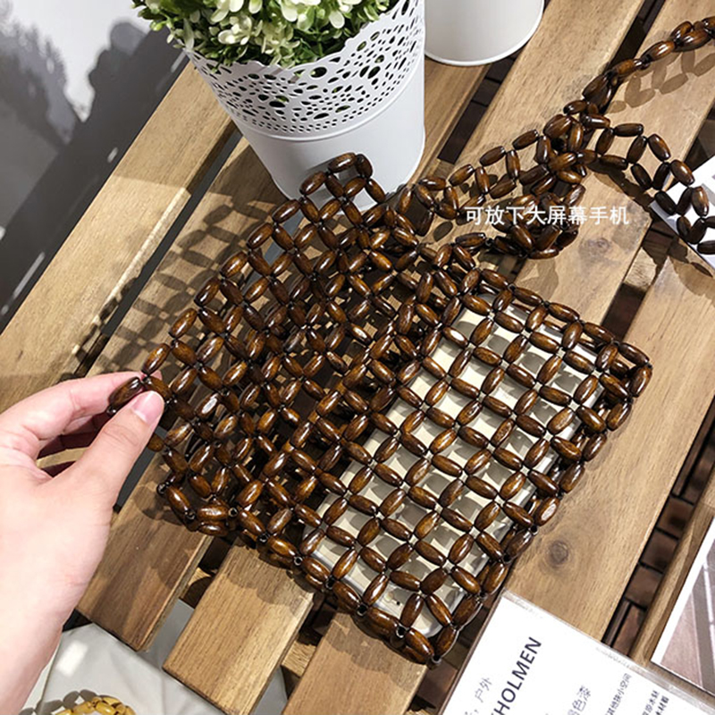2019 Women Wooden bead shoulder strap Bamboo Beach Bag Totes Handbag Ladies Handmade Straw Bag Summer Women 39 s Purse in Shoulder Bags from Luggage amp Bags