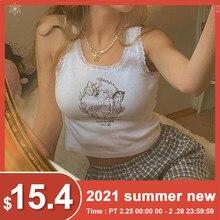 Borboleta fada sexy colheita topo feminino verão rendas retalhos em torno do pescoço curto magro tanque topos femme casual vintage y2k t camisa 2021