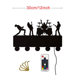 Image 5 - Rock Band LED crochets muraux lumineux décor de ménage bande de musique multicolore porte manteau porte clés cadeau pour chanteur idole