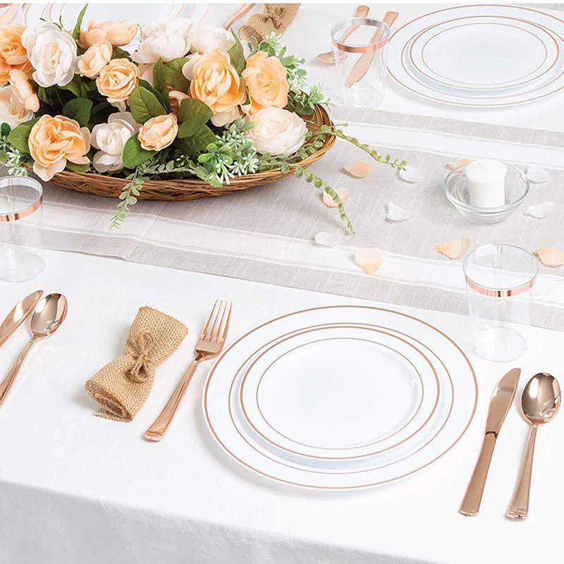25 шт. одноразовая прозрачная чашка из розового золота пластиковая обеденная тарелка Золотой набор столовых приборов для свадебной вечеринки столовые ножи вилки ложка ПИС