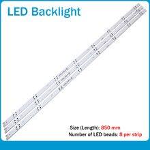 (Novo kit) 3 pçs 8led 850mm tira de luz de fundo led para lg HC430DGN-SLNX1 43uf6400 43uf640v 43uf6407 43uh610v 43uh619v