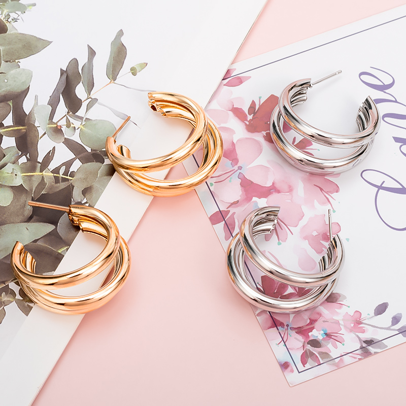 New Fashion Gold Vintage Semi-circle Hollow Hoop Earrings for Women Geometric Statement Hanging Earrings Fashion 2020 Jewelry