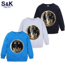 Kids Sweatshirts Pullover Spring Tops Boys Long-Sleeve Sequin-Pattern Children Cartoon