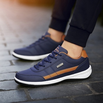 Men Casual Sneakers PU Leather Running Shoes Fashion Lace Up Business Casual Shoes Male Outdoor Walking Jogging Sports Shoes 1