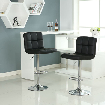 Set of 2 Bar Stools PU Leather Adjustable Height Dining Swivel High Back Bar Pub Counter Chair Dining Chair Home Stool Bar Chair wahson tufted round back swivel accent chair contemporary adjustable leather chrome vanity chair lounge pub bar bedroom white