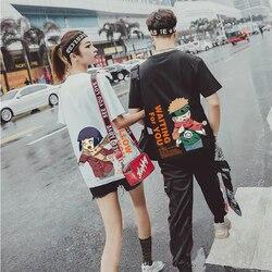 XLOTUS Fashion Japanese Anime T Shirt Men Sasuke Funny Cartoon T-shirt Casual Cool Streetwear Tshirt Couple Hip Hop Top Tee Male