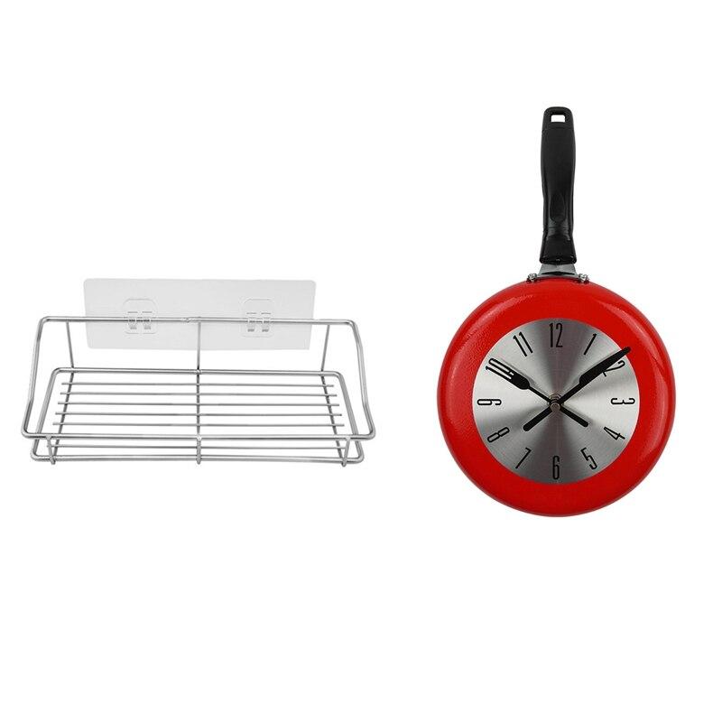 Étagère de cuisine de stockage dorganisateur détagère de salle de bains avec ladhésif Transparent sans trace aucun perçage acier inoxydable et horloge murale en métal