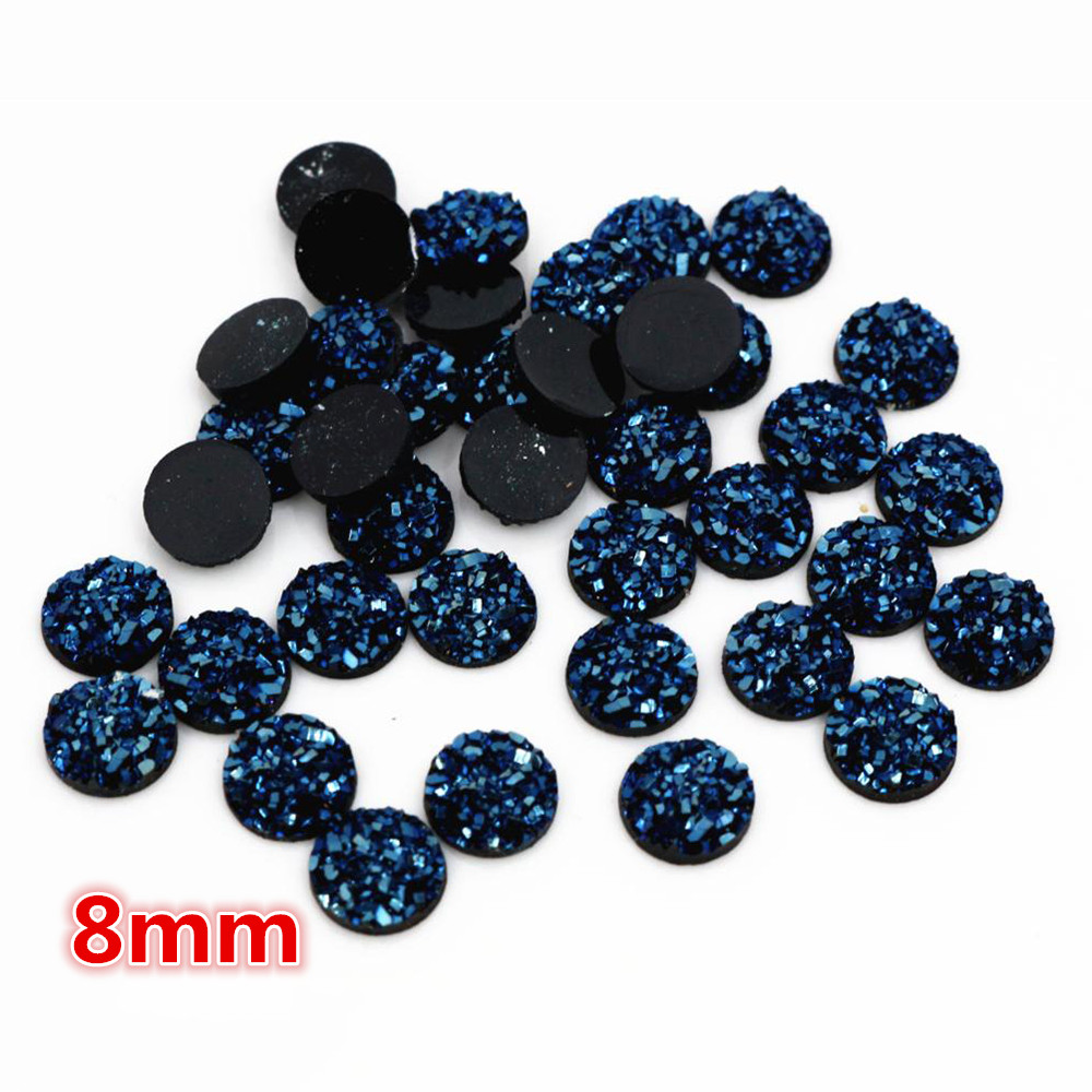 New Fashion 8mm 40pcs Ice Blue Colors Natural Ore Style Flat Back Resin Cabochons For Bracelet Earrings Accessories-O6-27
