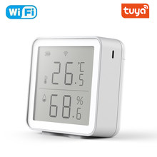 Sensor de temperatura y humedad para interiores, higrómetro con pantalla LCD, compatible con asistente de Google Alexa, Tuya, WIFI