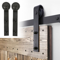2*Door Tracks Carbon Steel Wheel Sliding Barn Door Sliding Track Kit Interior Rustic Track Double Door Black Hardware Rail