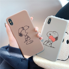 Matte cartoon dog for iphone 11 case 7 8 plus xr x xs max 6 6s phone cases bear coffee back cover cute