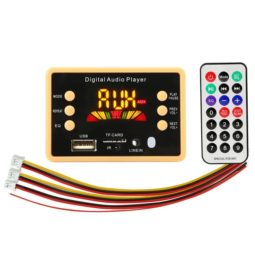 12V MP3 Player Speaker Digital Audio Player Car FM Radio Module Support FM TF USB AUX Recorders