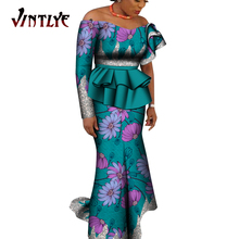 2 Pcs Women Skirt and Top Set Ankara African Print Lady Clothes Elegant Strapless Top and Robe Skirt Dashiki Party Outfit WY9178