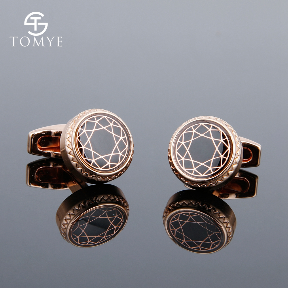 TOMYE Men's Cufflinks High Quality Rose Gold Round Metal Groom Vintage Shirt Cuff Links Wedding Gift XK19S103