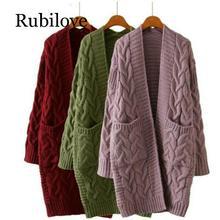 Rubilove 2019 Winter Women Oversize Knitting Long Cardigan with Pockets Loose Causal Twist Knit Sweaters Coat