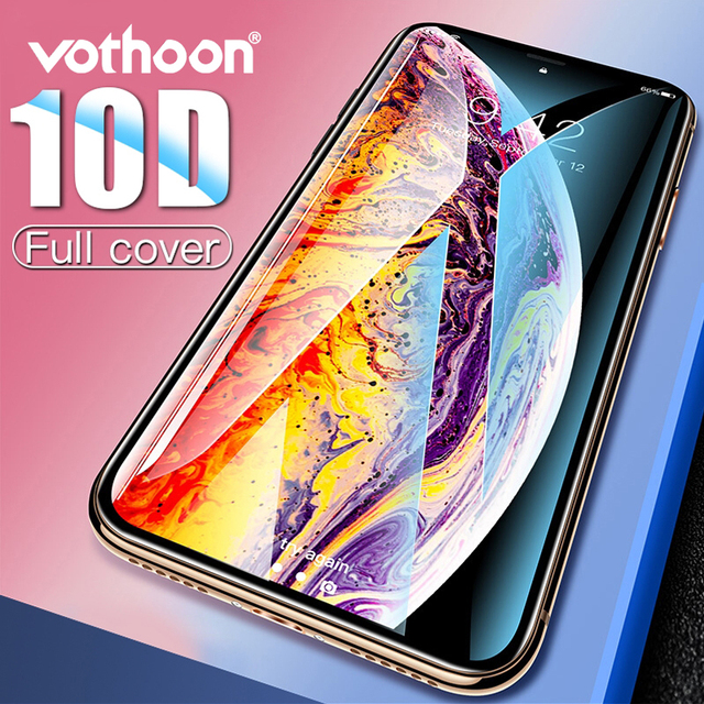 Vothoon Screen Protector Glass For iphone Xs Max XR 8 7 6s Plus 10D Full Cover edge Tempered Glass Protective