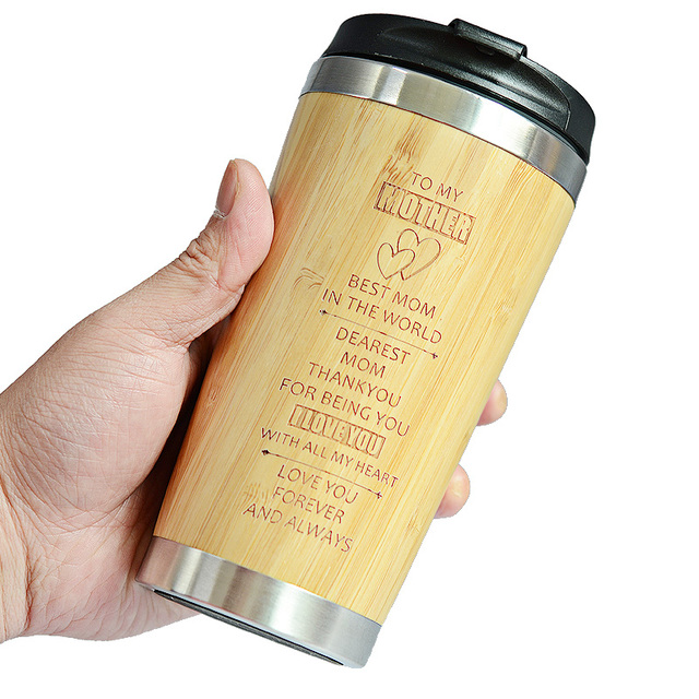 400MLTravel Coffee Mugs Bamboo Stainless Steel Cup Coffee Drink Bottle Flask Bambu Water Mugs For Mother's Day Gift 5