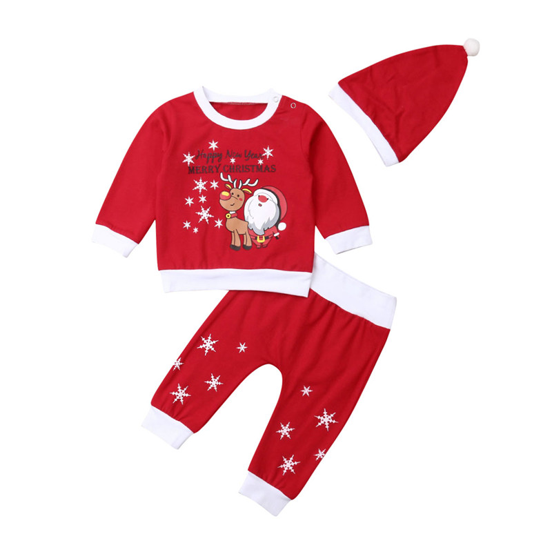 Christmas Newborn Kids Baby Boys Girls Top Pants Hat Outfits Set Clothes 3Pcs