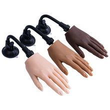 Silicone manicure practice hand model with joints bendable matching nail piece prosthetic silicone