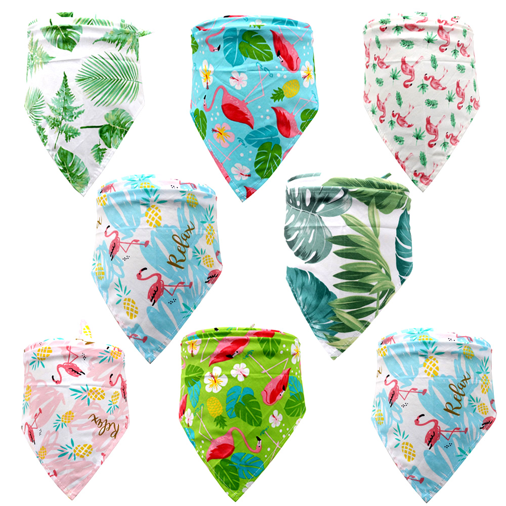 New 50/100pcs Dog Bandana Small Large Dog Bibs Scarf Cotton Flamingo Pet Puppy Kerchief Summer Dog Accessories Pet Supplies