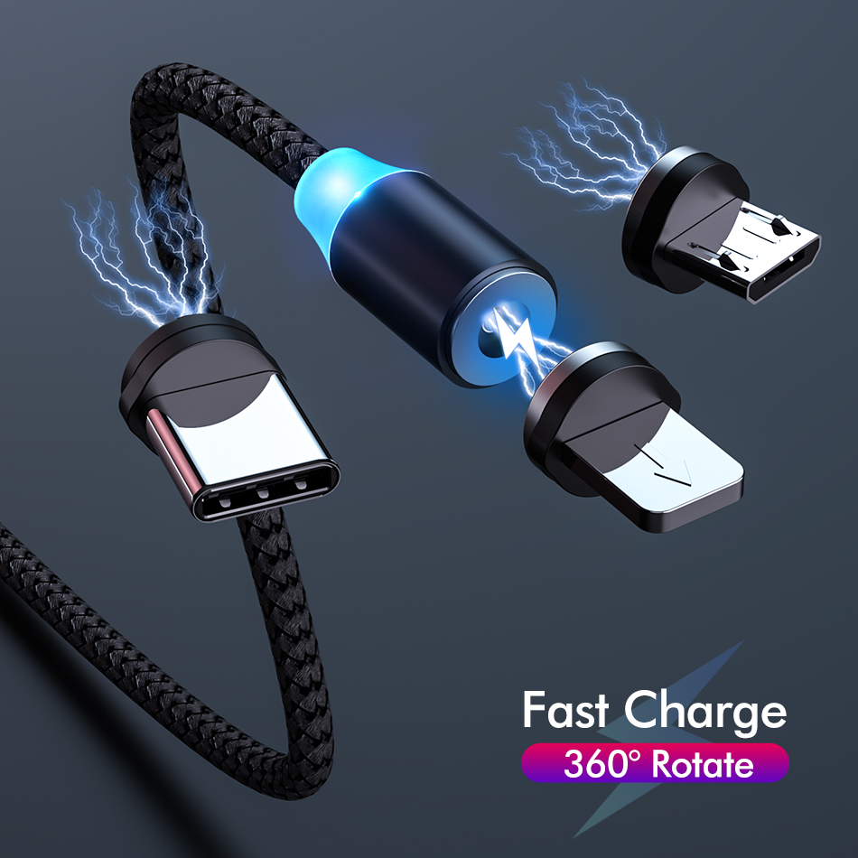 2m Magnetic Cable Micro USB Type C Fast Charging Type-C Magnet Charger Mobile Phone Cable USB C For Xiaomi IPhone 11 Xr Samsung