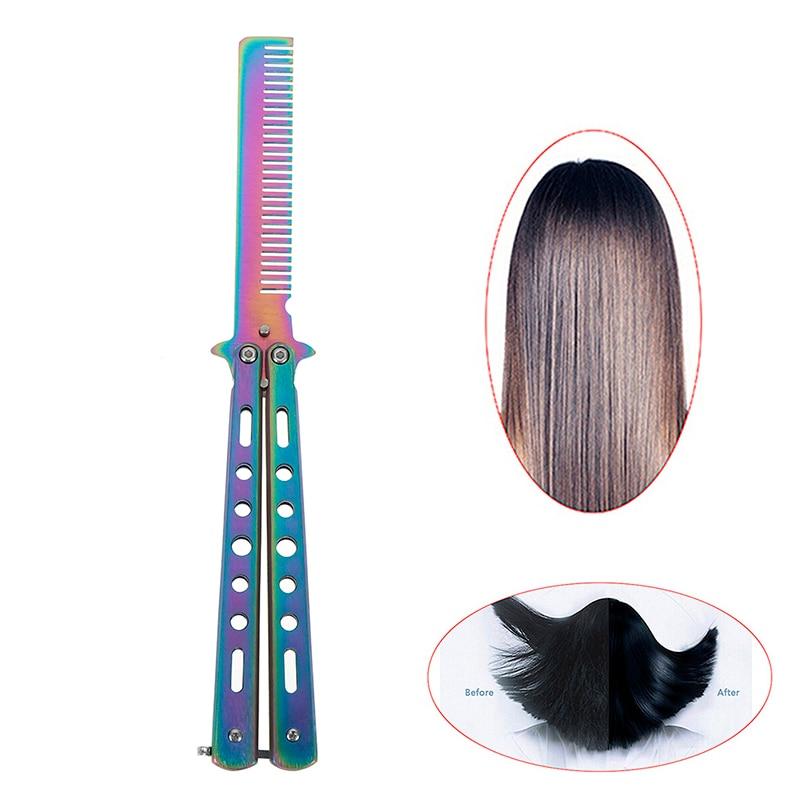 Складная расческа из нержавеющей стали, 1 шт., тренировочный нож-бабочка, расческа для бороды и щетки для усов, инструмент для укладки волос