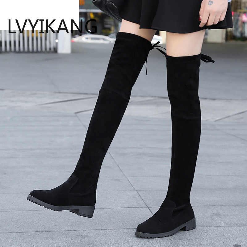 2019 Size 35-41 Winter Over De Knie Laarzen Vrouwen Stretch Stof Dij Hoge Sexy Vrouw Schoenen Lange Bota feminina Zapatos De Mujer