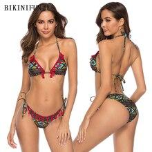 купить New Sexy Tassel Bordered Bikini Women Swimsuit Geometric Print Bathing Suit S-XL Girl Backless Halter Swimwear String Bikini Set по цене 715.14 рублей