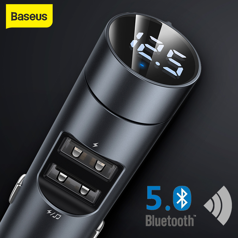 Baseus Car FM Transmitter Bluetooth 5.0 Handsfree Modulator Car Charger 3.1A Dual USB Car MP3 Player Wireless Audio Receiver Kit