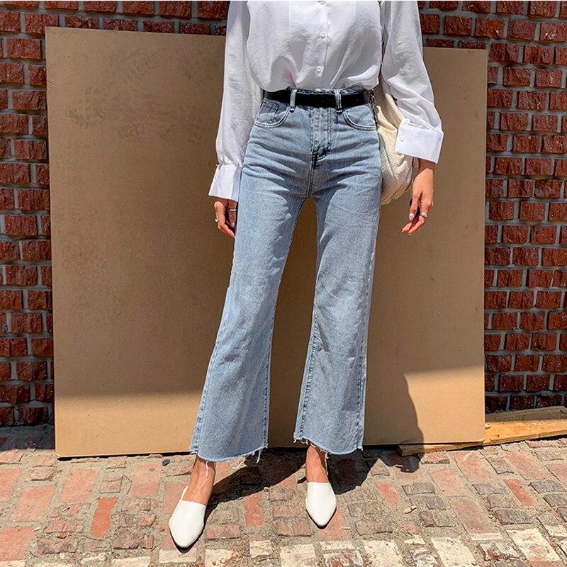 Vintage Denim Blue Button Fly Loose Wide Leg Denim Jeans Women Autumn High Waist Tassel Casual High Street Female Jeans Pants