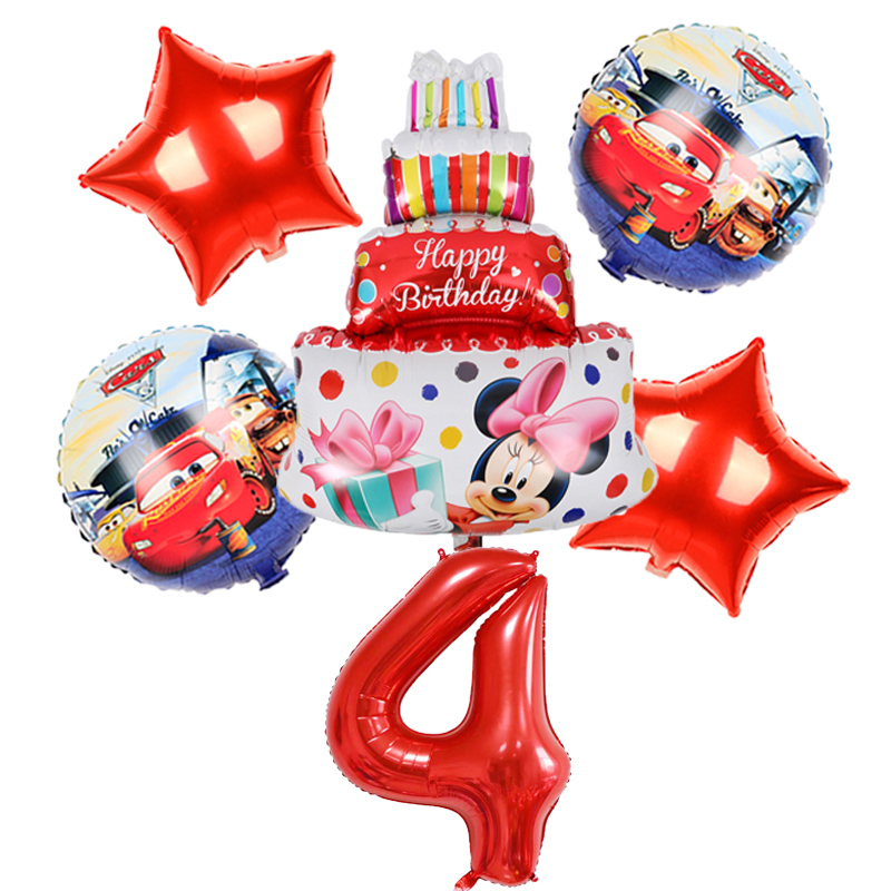 1 set Mickey Minnie Mouse Car Cake Children Birthday Party Birthday Decoration Latex Balloons Kid Toys​ 40inch Red Number Balls