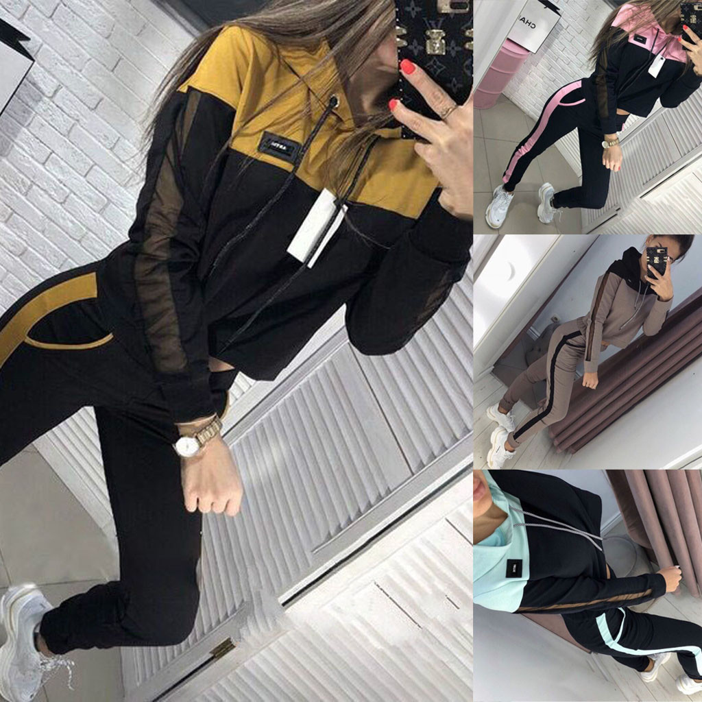 Solid Color Hooded Sweatshirt and pant Tracksuit Sport Suit two piece set women's tracksuits autumn Women