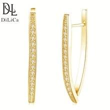 DiLiCa Trendy Dangle Earrings Rhinestone Geometric Earrings for Women Fashion Drop Earrings Silver Gold Color a suit of cute rhinestone geometric earrings for women