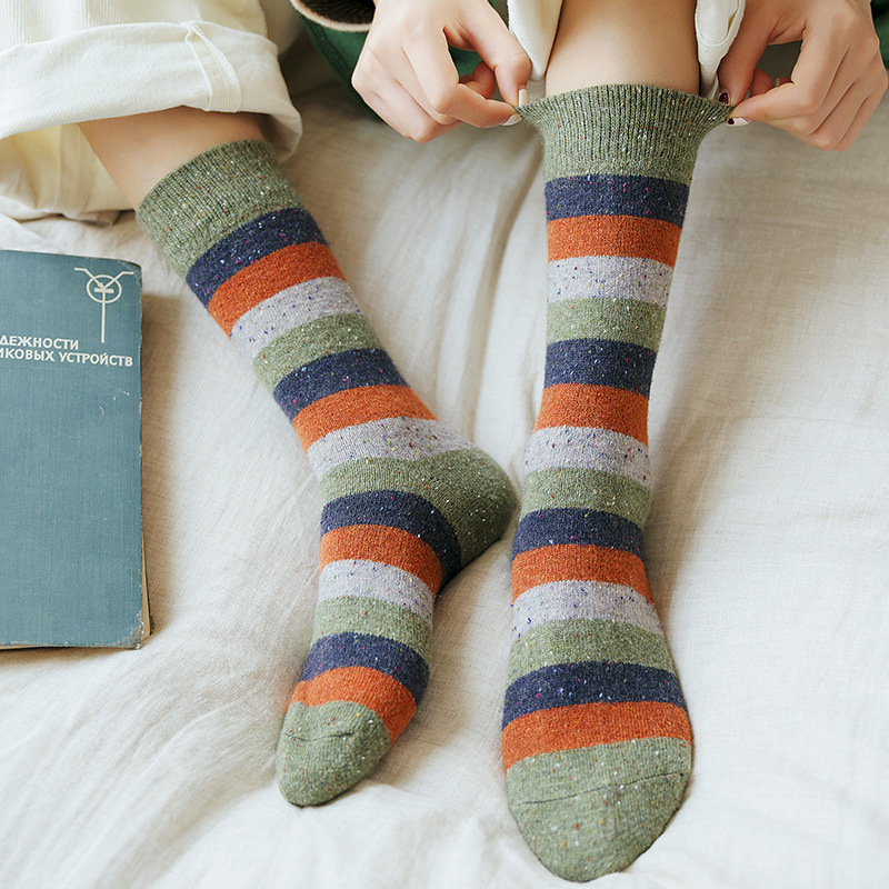 Thick And Warm Wool Socks Women For Autumn Winter Japanese Korean Style Dotted Yarn Stripe Socks For Middle Aged Women 092903