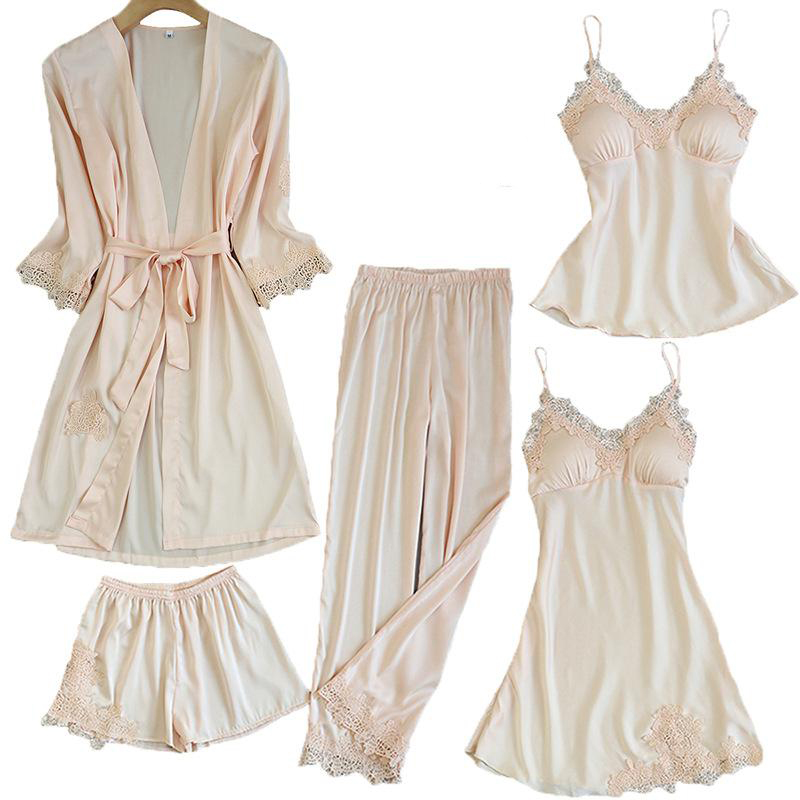 Satin Lace Pajamas Set Women 5PC Strap Top Pants Sleepwear Sleep Suit Spring Autumn Pyjamas Home Wear Nightwear Robe Gown M-XXL