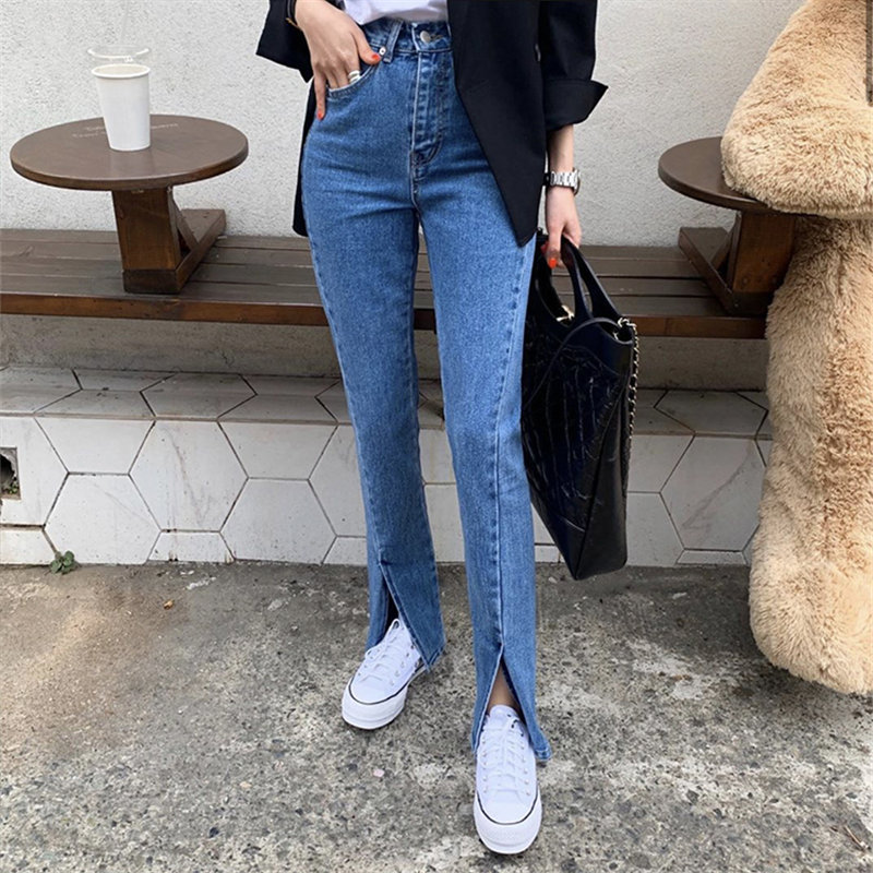 Alien Kitty Blue Streetwear Split Jeans 2020 High Quality Stylish Fashion Chic High Waist Women Casual Slender Denim Flare Pants