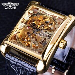 Image 1 - Winner 2017 Retro Casual Series rectángulo diseño de esfera patrón dorado hueco esqueleto reloj de los hombres de la mejor marca de lujo mecánico