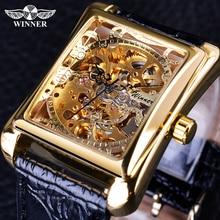 Winner 2017 ريترو عادية سلسلة مستطيل الطلب تصميم الذهبي نمط الجوف الهيكل العظمي ساعة الرجال مشاهدة العلامة التجارية الفاخرة الميكانيكية