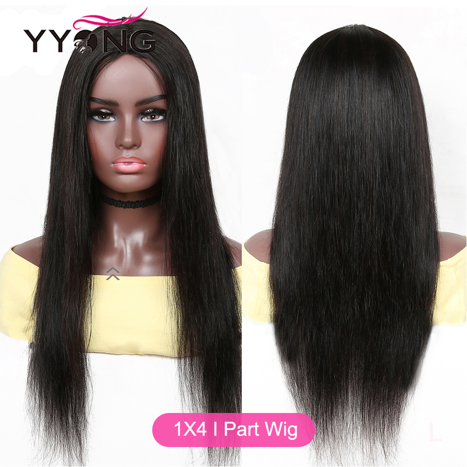 YYong Indian Straight 1x4& 1x6 T Part Lace Wig HD Transparent Lace Wig  Lace Part  Wigs Mid-Part 8- 30 32inch 5
