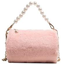 Pink Sugao Rabbit-like Chain Bag Women Crossbody Bag Winter Warm Tote Bag New