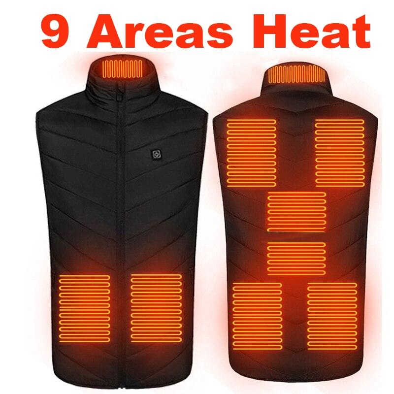 Жилет с подогревом для мужчин и женщин, тактический терможилет с электроподогревом для мужчин и женщин, 9 областей