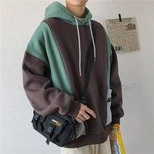 купить Autumn Cotton Hoodies Men Fashion Contrast Color Casual Hoodie Men Hooded Sweatshirt Man Streetwear Hip Hop Loose Pullover Hoody по цене 1622.42 рублей